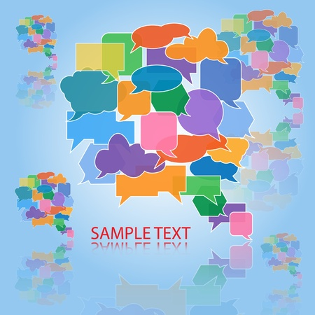 Large speech bubble made from colorful small bubbles and reflected Vector