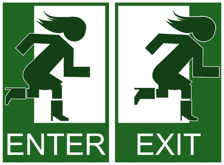 emergency exit: Green emergency exit and enter sign, icon and symbol Illustration