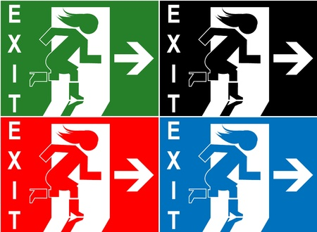 Colorful emergency exit sign, icon and symbol Vector