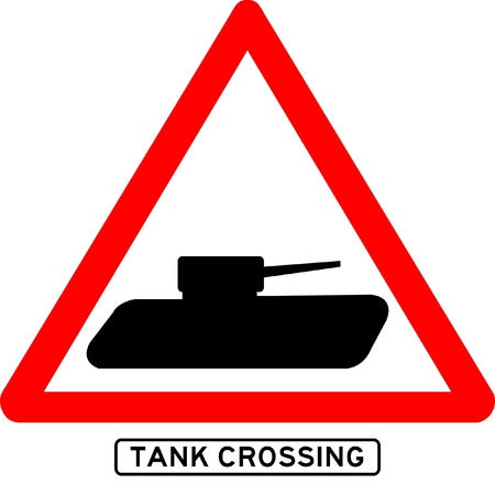 dissuade: Tank crossing sign isolated  Illustration