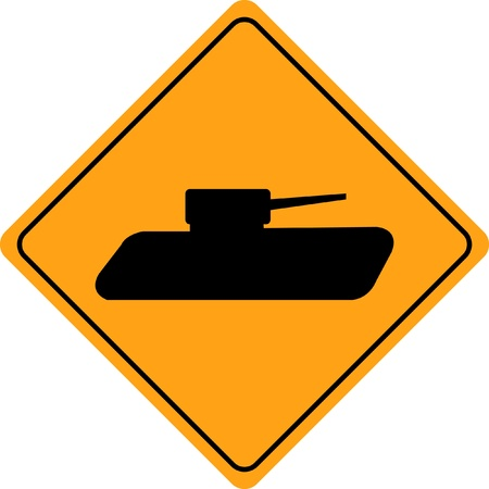 dissuade: Tank crossing sign isolated