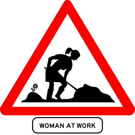 Woman at work traffic sign Stock Vector - 9788705