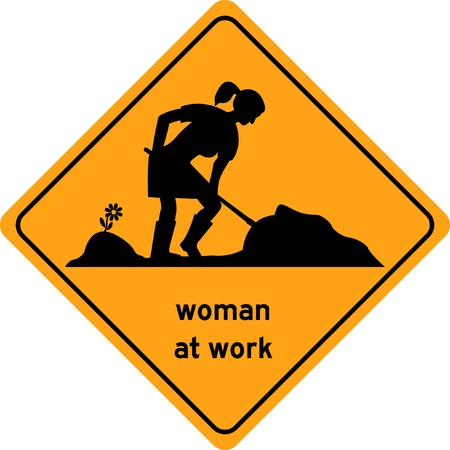 Woman at work traffic sign Illustration