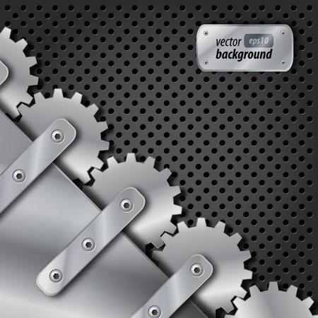 Metal plate and gears vector Vector