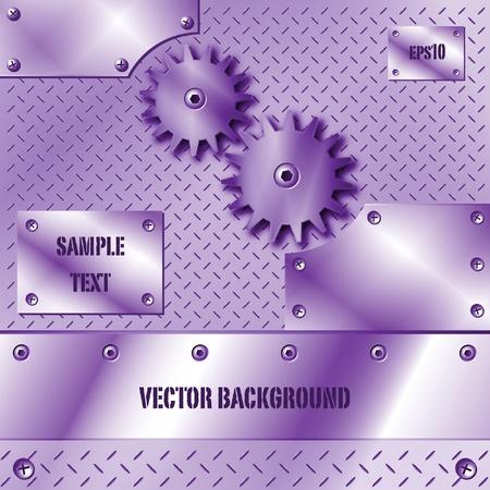 Purple metal plate and gears vector Stock Vector - 9865946