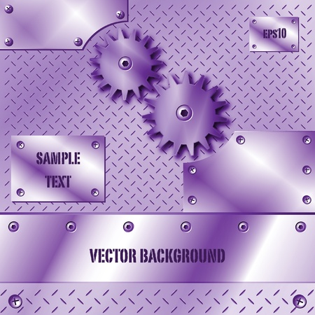 Purple metal plate and gears vector Stock Vector - 9865946