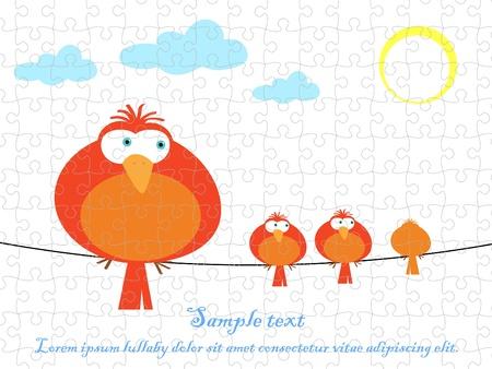 Bird vector graphic puzzle jigsaw Illustration