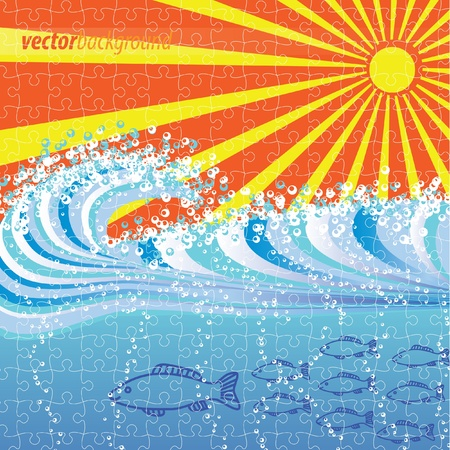 Water wave abstract background puzzle jigsaw Vector