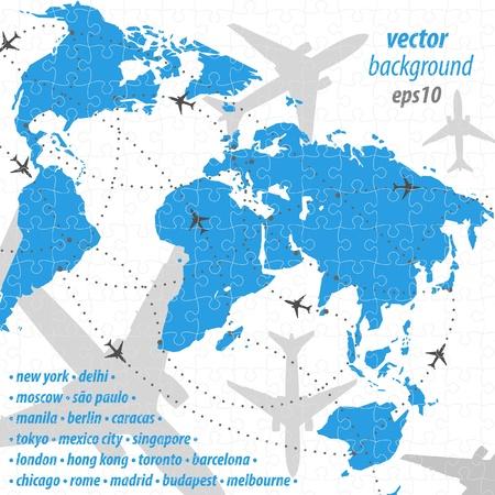 World map flight travel illustration puzzle jigsaw 矢量图片