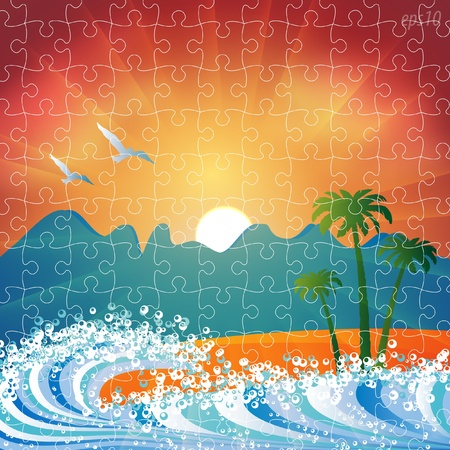 Summer holiday beach background vector puzzle jigsaw Stock Vector - 9865957