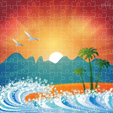 Summer holiday beach background vector puzzle jigsaw Vector