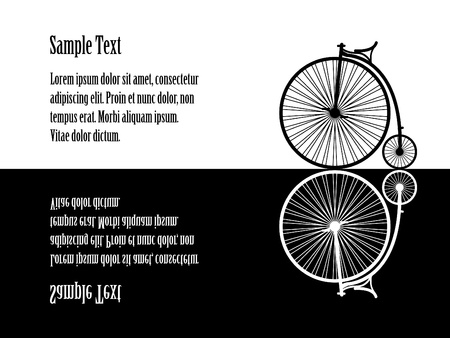 Illustration of velocipede (old  bicycle), black and white, reflecting