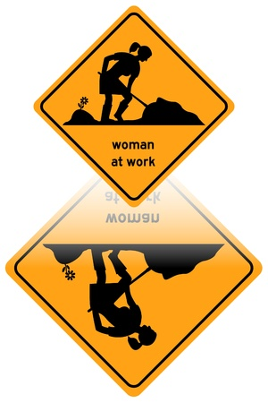 Woman at work traffic sign reflected Vector