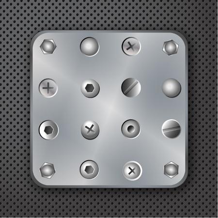 tornillos: Remaches de tornillos y pernos de la ilustraci�n vectorial Vectores