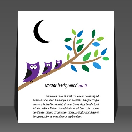 Abstract owls in the night flyer design  Vector