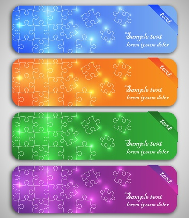 Modern elegant puzzle design eps10 vector banners Vector