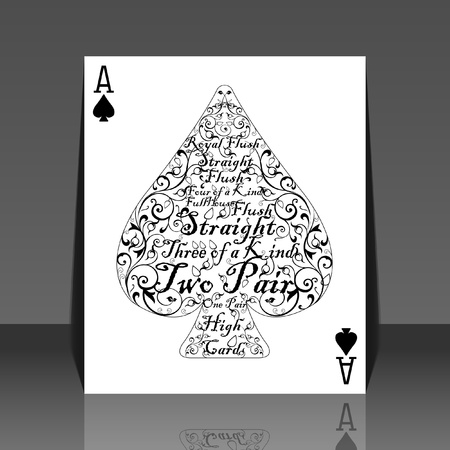 Poker card spade ace - the perfect card - flyer design Illustration