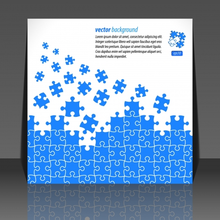 Puzzle pieces vector design flyer design Illustration