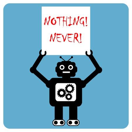 Modern robot protests demonstration Vector