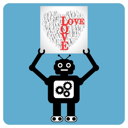 Modern robot with  heart made of words  Vector