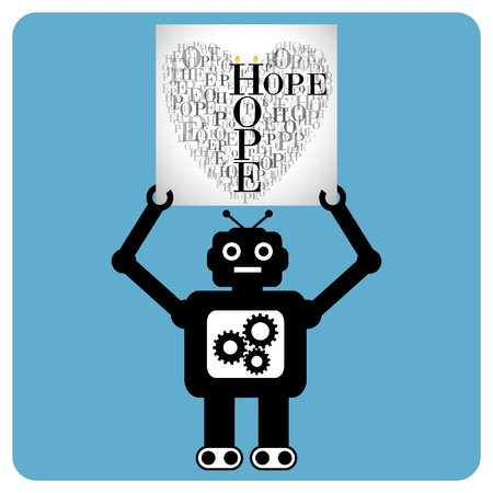 Modern robot with a hearts made of words  Vector