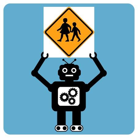 Modern robot with traffic sign  Vector