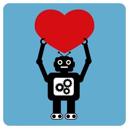 bras robot: Robot moderne avec c?ur joyeux