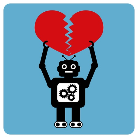 crushed: Modern robot with crushed heart Illustration