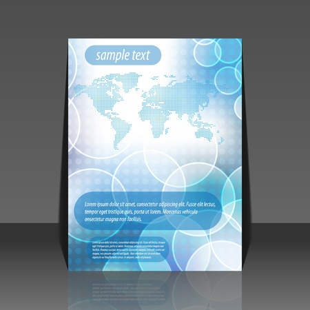 Abstract bubble world map vector flyer design