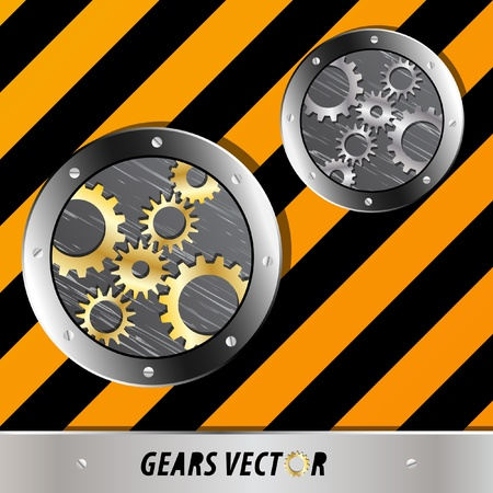 Metal plate and gears vector on grunge