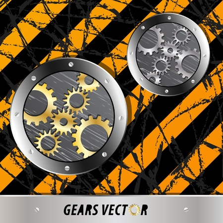 Metal plate and gears vector on dirty grunge Vector