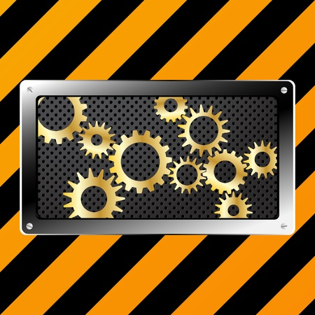Metal plate and gears vector on grunge Vector