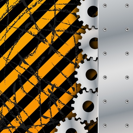 Metal plate and gears on dirty grunge vector
