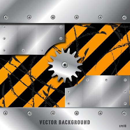 Metal plate and gears vector on dirty grunge