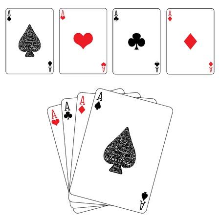 에이스: 포커 카드 스페이드 다이아몬드 하트 클럽 에이스