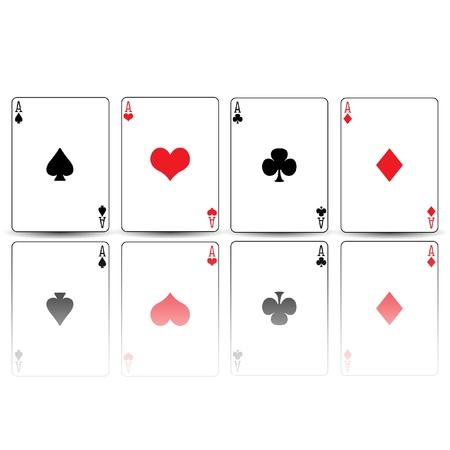 에이스: 포커 카드 스페이드 다이아몬드 하트 클럽은 반영 에이스