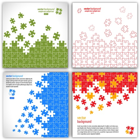 Puzzle pieces vector design set Illustration
