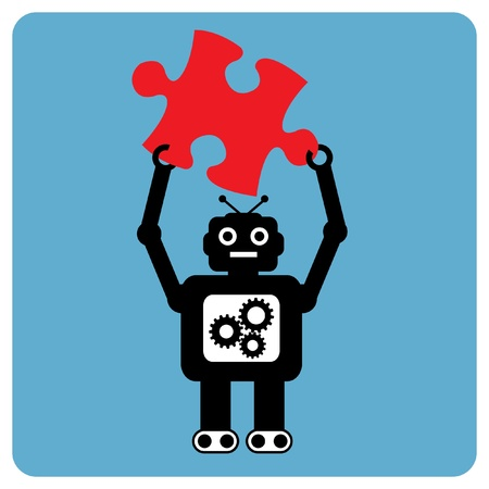 Modern robot with puzzle pieces