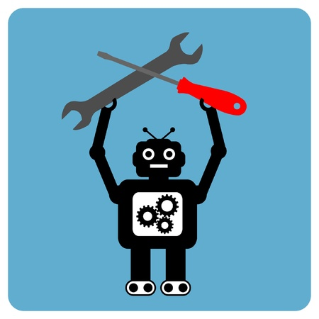 Modern robot with wrench and screwdriver Illustration