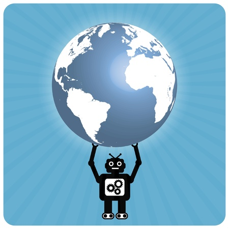 Modern robot with happy heart globe - Atlas Illustration