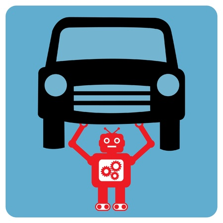 Modern robot with car