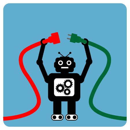 Modern robot with cable plug Vector