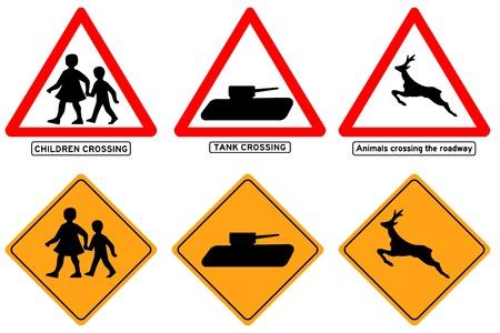 Traffic signs simbols icons set Illustration