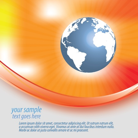 Abstract orange red yellow background with globe Vector