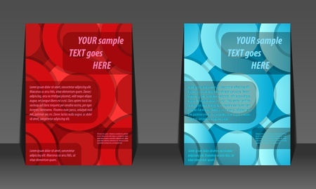 Abstract red and blue circle background flyer design Illustration