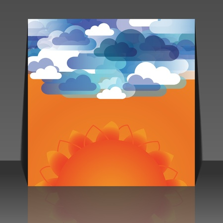 Abstract clouds and sun background vector