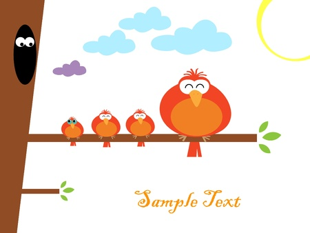 Vector illustration d'oiseaux color�s