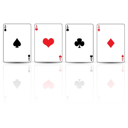 ace of diamonds: Poker card spades diamonds hearts clubs ace reflected Illustration