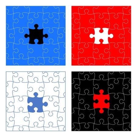 Puzzle pieces vector design set Stock Vector - 11785361