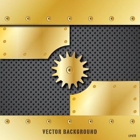 glass fiber: Gold metal plate and gears vector Illustration